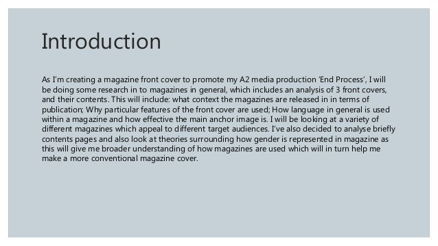 an introduction to the analysis of a magazine Preparation and materials: magazine ads (preferably recent ones) i usually use   introduction: although first year composition students tend to have some.