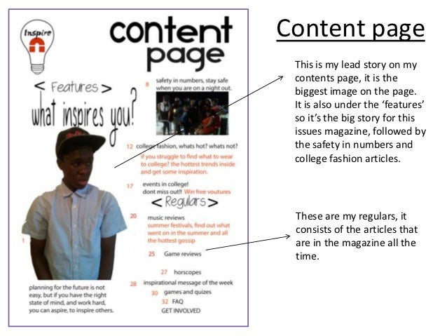 Magazine cover and contents page analysis lorraine Slide 3