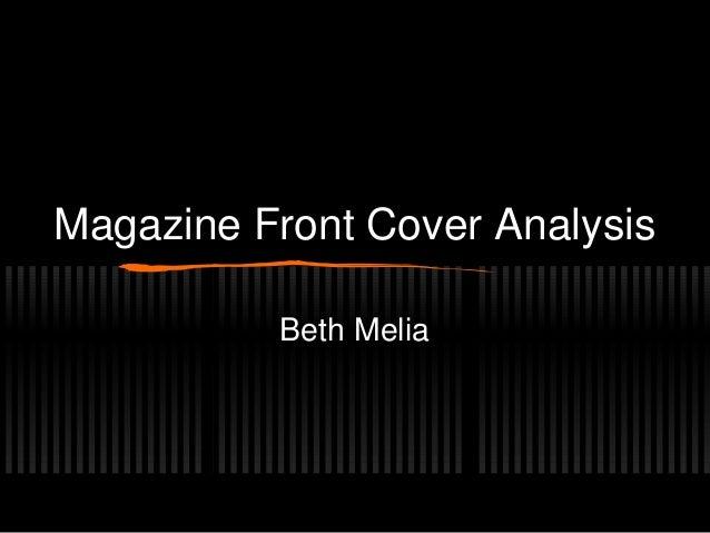 Magazine Front Cover Analysis Beth Melia