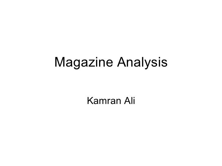 Magazine Analysis Kamran Ali