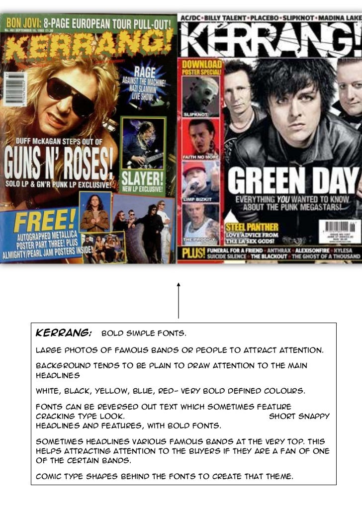 2790825-643255-914400-640715+<br />KERRANG:   Bold simple fonts.Large photos of famous bands or people to attract attentio...