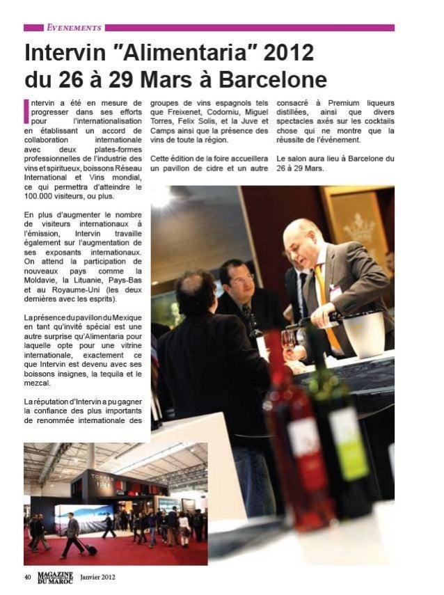 "Intervin ""Alimentaria"" 2012 du 26 à 29 Mars à Barcelone. Magazine du Marroc (Marruecos), enero 2012"