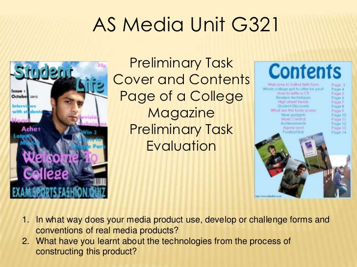 AS Media Unit G321                       Preliminary Task                     Cover and Contents                      Page...