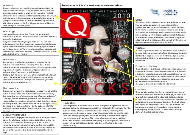 Masthead                                                             Comment on how the design of the magazine cover attra...