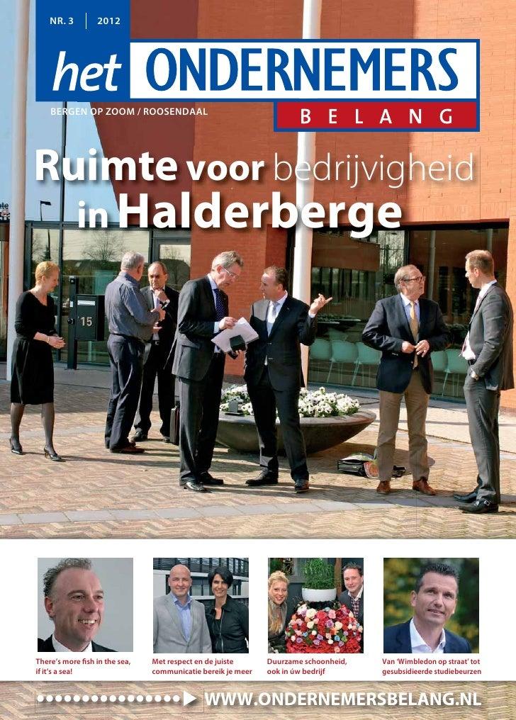 NR. 3         2012    BERGEN OP ZOOM / ROOSENDAALRuimte voor bedrijvigheid            in HalderbergeThere's more fish in t...