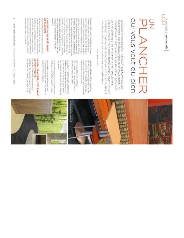 Magazine HRI - un plancher qui vous veut du bien - Alain Fortier