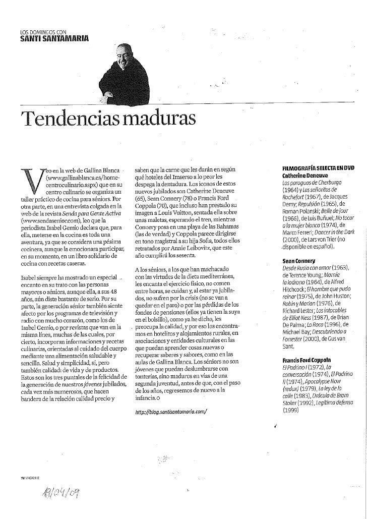 Santi Santamaría habla de Gallina Blanca en el Magazine La Vanguardia