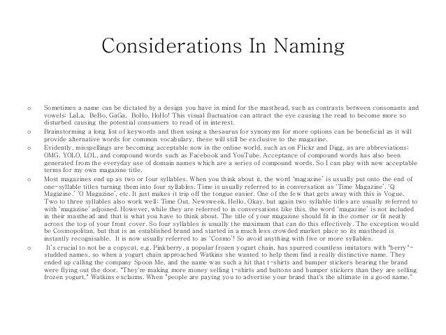 Magazine name research Slide 3
