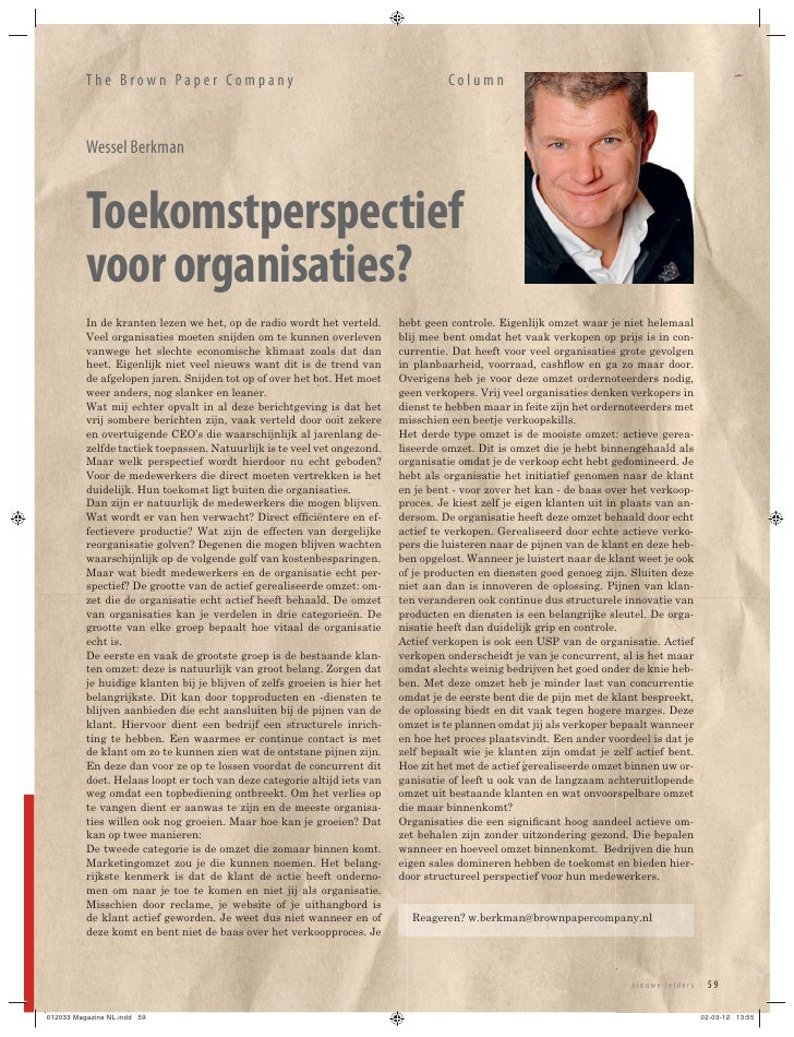 The Brown Paper Company                                                    Column          Wessel Berkman          Toekoms...