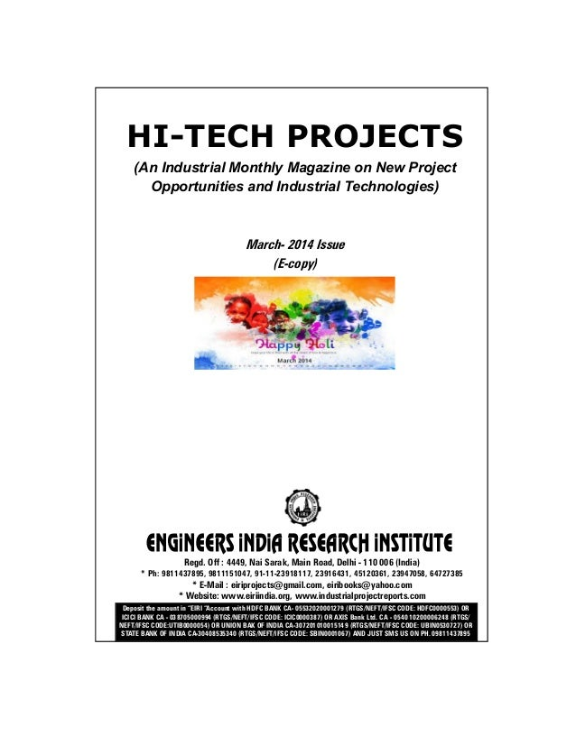 HI-TECH PROJECTS (An Industrial Monthly Magazine on New Project Opportunities and Industrial Technologies) March- 2014 Iss...