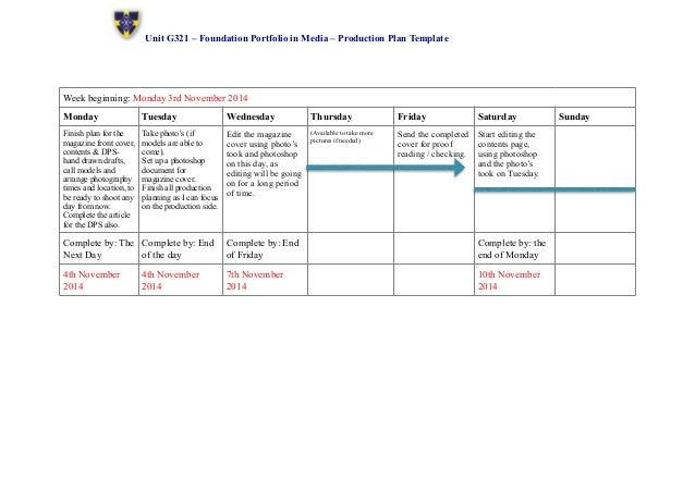 Magazine production plan template
