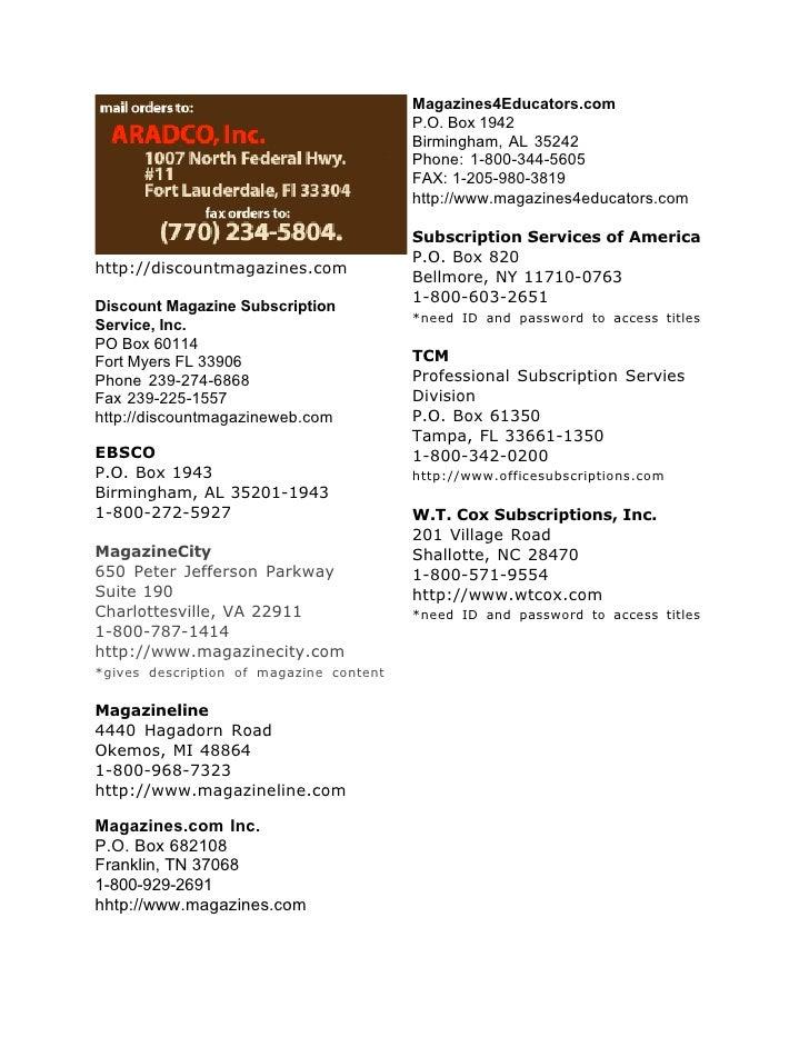Magazines4Educators.com                                          P.O. Box 1942                                          Bi...