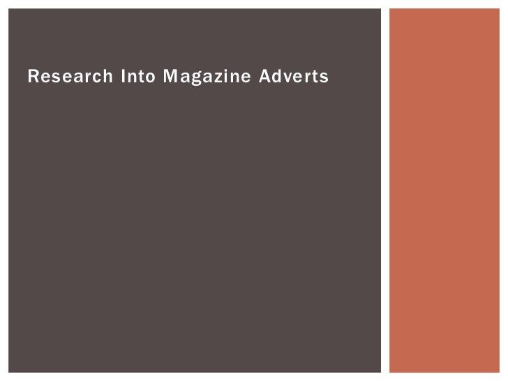 Research Into Magazine Adverts