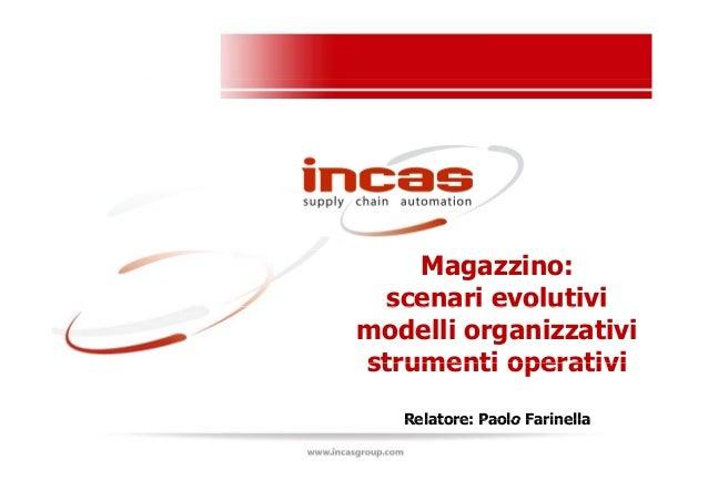 Magazzino: scenari evolutiviscenari evolutivi modelli organizzativi strumenti operativistrumenti operativi Relatore: Paolo...