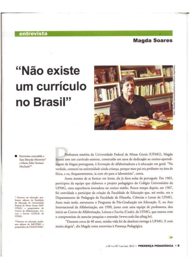 Magda Soares não Existe Currículo no Brasil
