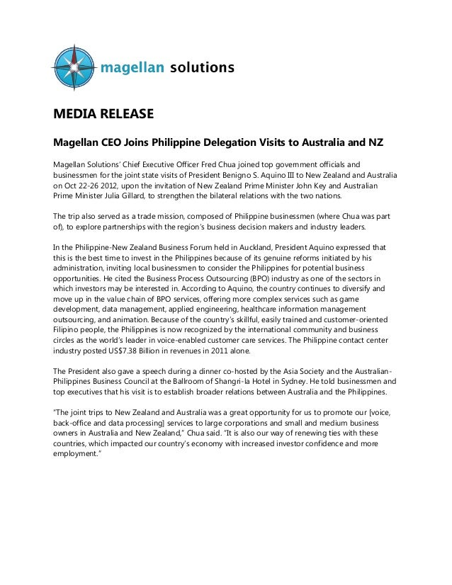 MEDIA RELEASE Magellan CEO Joins Philippine Delegation Visits to Australia and NZ Magellan Solutions' Chief Executive Offi...