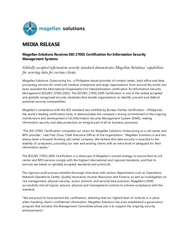 MEDIA RELEASE Magellan Solutions Receives ISO 27001 Certification for Information Security Management Systems Globally acc...