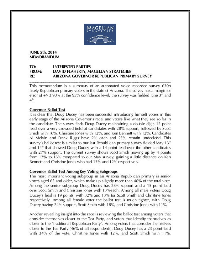 ! JUNE 5th, 2014 MEMORANDUM TO: INTERESTED PARTIES FROM: DAVID FLAHERTY, MAGELLAN STRATEGIES RE: ARIZONA GOVERNOR REPUBLIC...