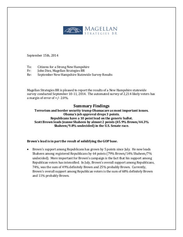 September 15th, 2014  To: Citizens for a Strong New Hampshire  Fr: John Diez, Magellan Strategies BR  Re: September New Ha...