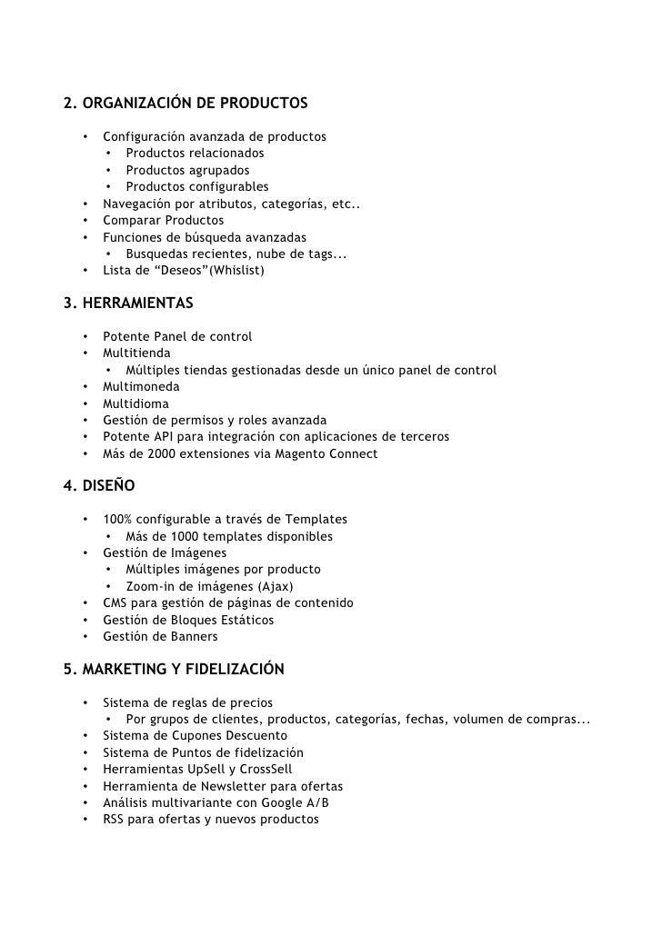 2. ORGANIZACIÓN DE PRODUCTOS    •   Configuración avanzada de productos       • Productos relacionados       • Productos a...