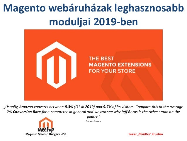"Magento webáruházak leghasznosabb moduljai 2019-ben ""Usually, Amazon converts between 8.3% (Q1 in 2019) and 9.7% of its vi..."