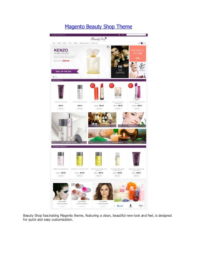 Magento Beauty Shop Theme  Beauty Shop fascinating Magento theme, featuring a clean, beautiful new look and feel, is desig...
