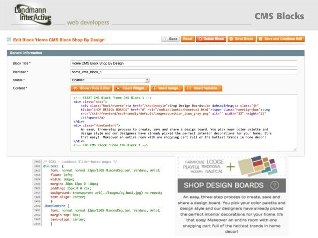 Creating a custom home page in Magento - Landmann InterActive