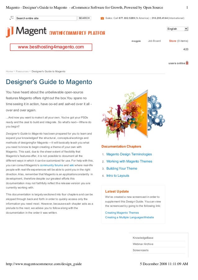 Magento - Designers Guide to Magento - eCommerce Software for Growth, Powered by Open Source                              ...