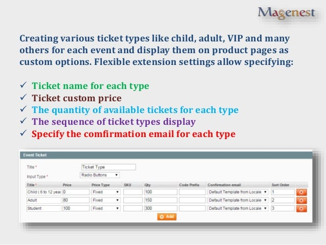Magento Event Tickets extension