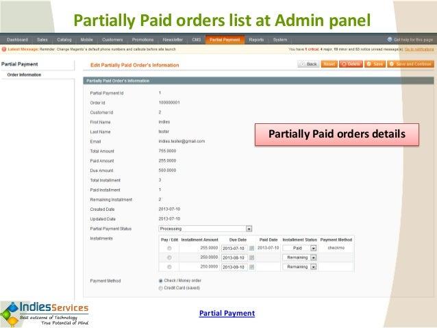 magento partial payment demo user guide