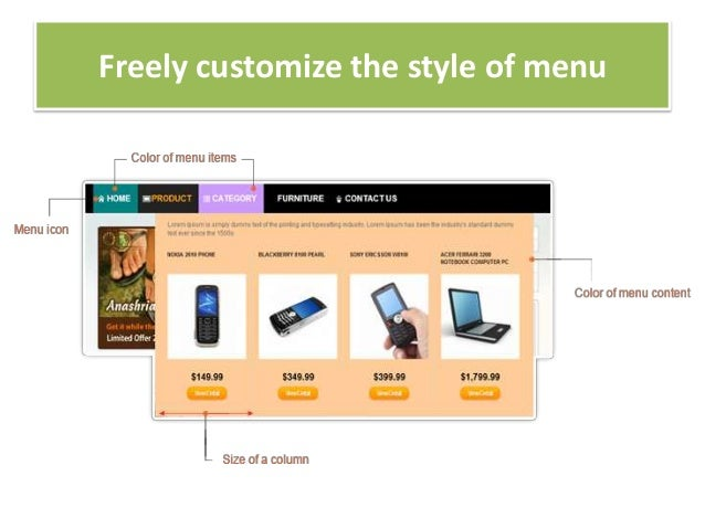 Freely customize the style of menu