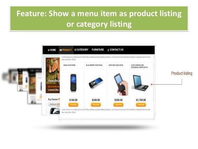 Feature: Show a menu item as product listingor category listing
