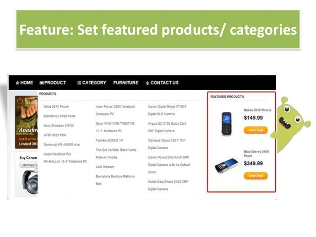 Feature: Set featured products/ categories