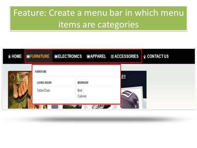 Feature: Create a menu bar in which menuitems are categories