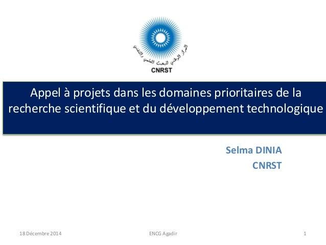 Appel à projets dans les domaines prioritaires de la recherche scientifique et du développement technologique Selma DINIA ...