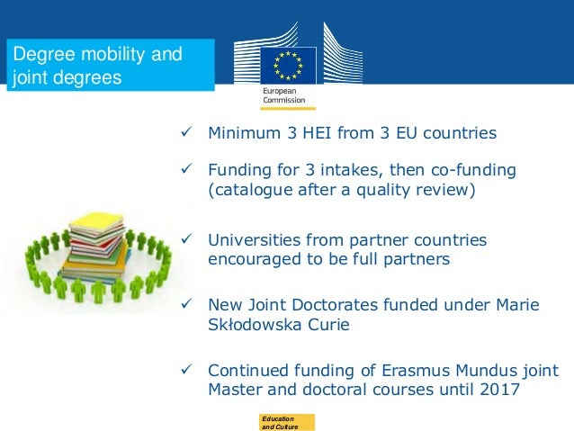 Date: in 12 ptsEducation and Culture  Minimum 3 HEI from 3 EU countries  Funding for 3 intakes, then co-funding (catalog...