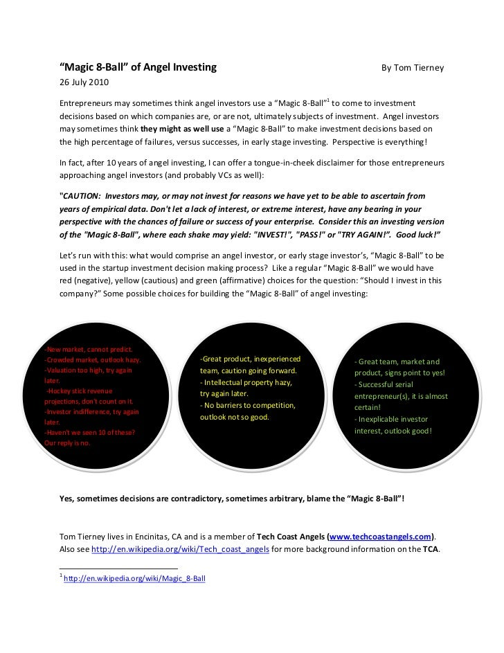 """""""Magic 8-Ball"""" of Angel Investing                                                         By Tom Tierney      26 July 2010..."""