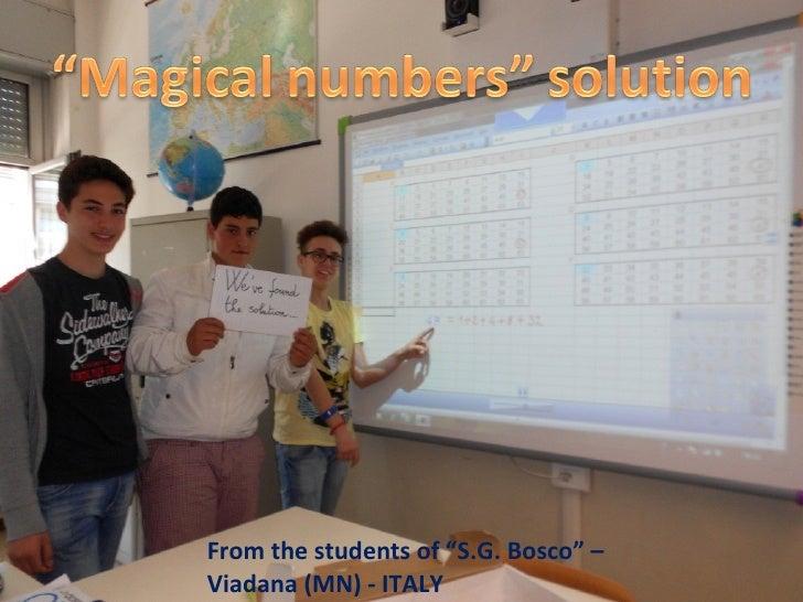 """From the students of """"S.G. Bosco"""" –Viadana (MN) - ITALY"""