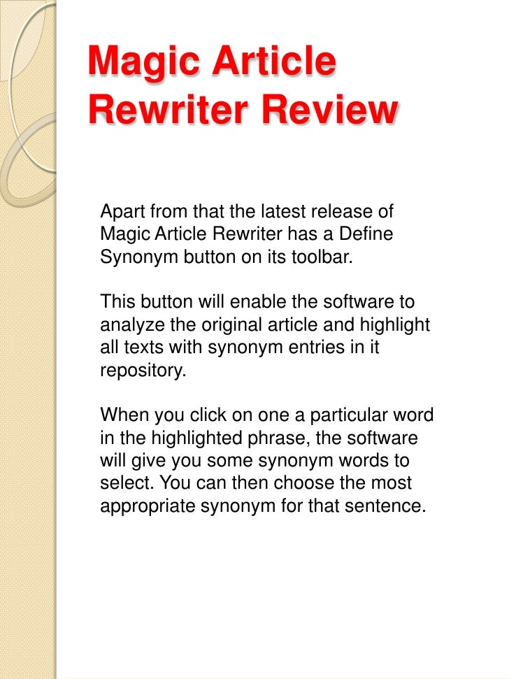 Article review the magic of the