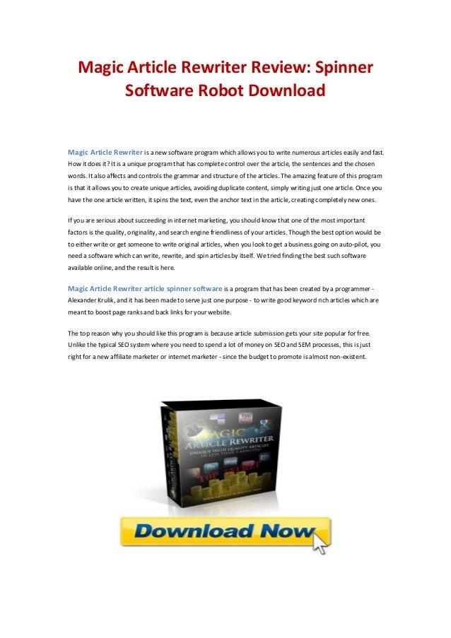 Article rewriter services program