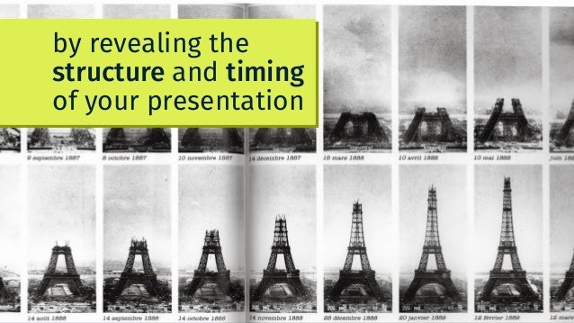 by revealing the structure and timing of your presentation