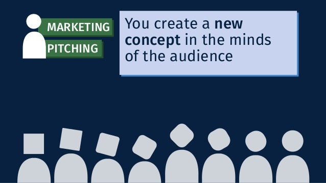 You create a new concept in the minds of the audience MARKETING PITCHING