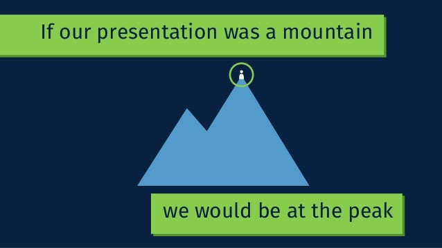 If our presentation was a mountain we would be at the peak