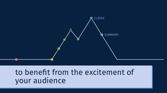 CLIMAX SUMMARY to benefit from the excitement of your audience