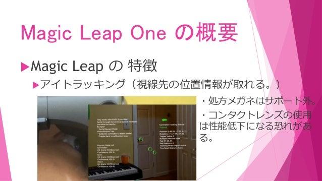 Magic Leap One の概要 Magic Leap の 特徴 イメージトラッキング