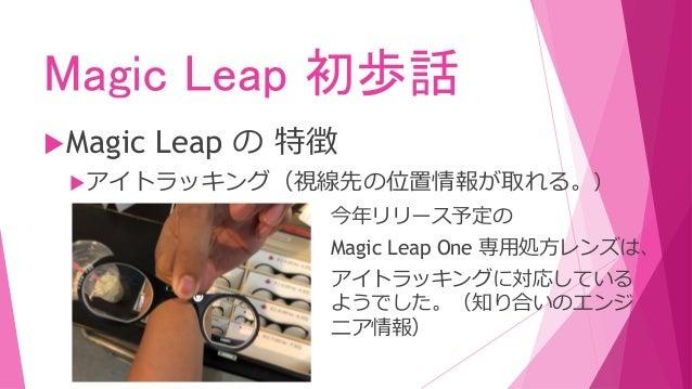 Magic Leap 初歩話 Magic Leap の 特徴 アイトラッキング(視線先の位置情報が取れる。) 今年リリース予定の Magic Leap One 専用処方レンズは、 アイトラッキングに対応している ようでした。(知り合いのエン...