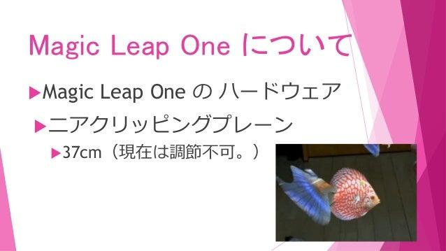 Magic Leap One について Magic Leap One の ハードウェア ニアクリッピングプレーン 37cm(現在は調節不可。)