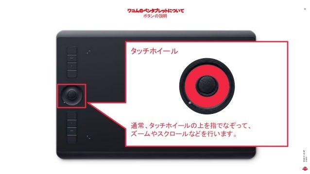 MAGICLEAP 2020 10 ワコムのペンタブレットについて ボタンの説明 タッチホイール 通常、タッチホイールの上を指でなぞって、 ズームやスクロールなどを行います。