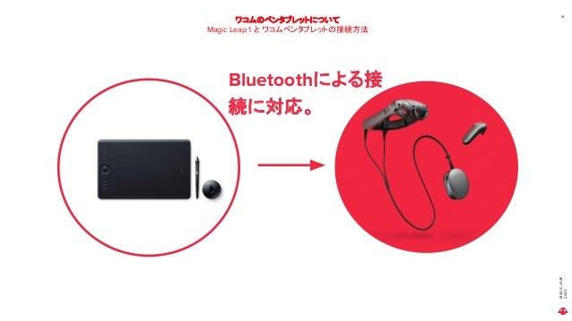 MAGICLEAP 2020 14 Bluetoothによる接 続に対応。 ワコムのペンタブレットについて Magic Leap 1 と ワコムペンタブレットの接続方法