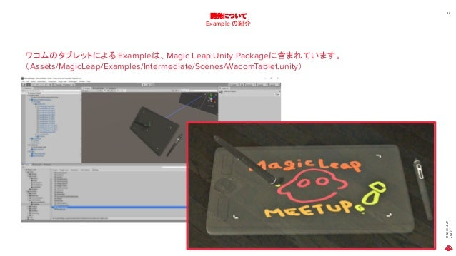 MAGICLEAP 2020 38 開発について Example の紹介 ワコムのタブレットによる Exampleは、Magic Leap Unity Packageに含まれています。 (Assets/MagicLeap/Examples/In...